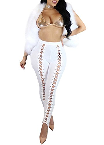 Romacci Women Lace-up Bandage Leggings High Waist Skinny Pants Tights Slim Pencil Trousers