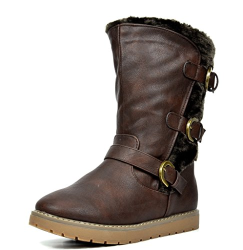 DREAM PAIRS Little Kid Korel Brown Pu Knee High Winter Snow Boots Size 1 M US Little Kid
