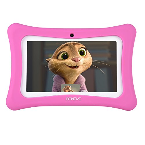 BENEVE Kids Tablet, 7 Inch Andriod 7.1 Tablet with 1GB RAM 8GB ROM and WiFi, Kids Software iWawa Pre-Installed(Pink)