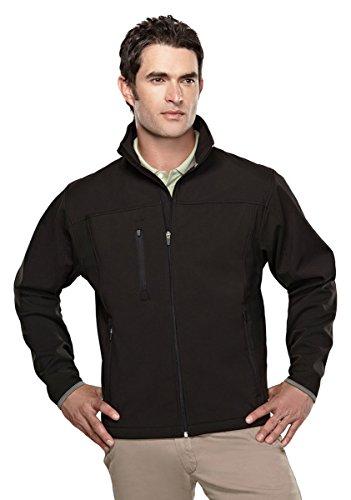(Tri-mountain Mens poly stretch bonded soft shell jacket. - BLACK/DARK GRAY - Medium)