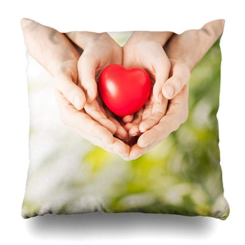 Ahawoso Throw Pillow Cover Human Green Share Family Love Close Charity Peace Heart Hands Bio Design Eco Home Decor Pillow Case Square Size 18x18 Inches Zippered Pillowcase