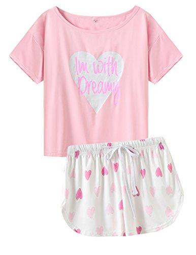 Capri Pants Hearts (VENTELAN Women's Sleepwear Short Sleeve Top with Shorts Heart Shape Pajama Set)