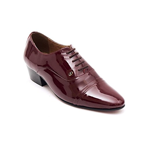 Lucini Mens Formal Cuban Heels Leather Lace Up Wedding Shoes Bordo Patent[Men UK 6 EU - Uk Bordo
