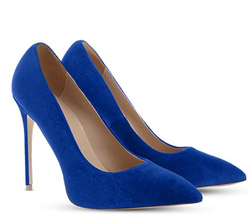 QUGKOP& Dress Shoes high Heels Shoes Woman Pointed Toes Velvet Wine red Big Size 42 Thin Heels 12cm Velvet Blue 12cm 9
