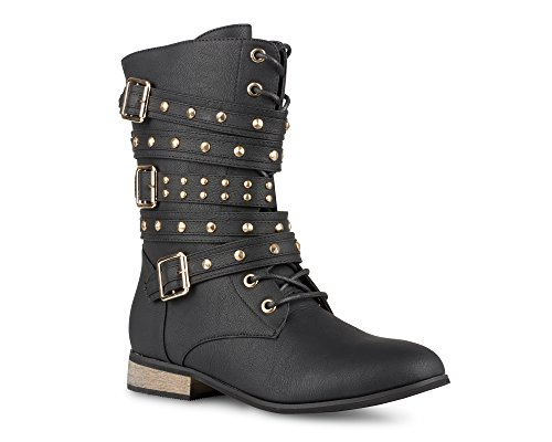 Black Water Western Boots - Twisted Women's BREE Tall Lace-up Military Boot - BREE01 Black, Size 8