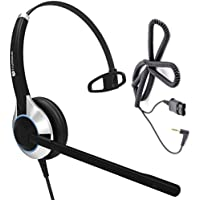 Deluxe Single Ear Noise Canceling Call Center / Office Headset with 2.5mm adapter cable for Cisco SPA: 303, 501G, 502G, 504G, 508G, 509G, 525G 512G, 514G,525G2