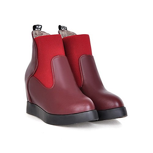 Toe Pull Closed Pointed Allhqfashion Red On Boots High Women's Solid Heels AH0A1tx