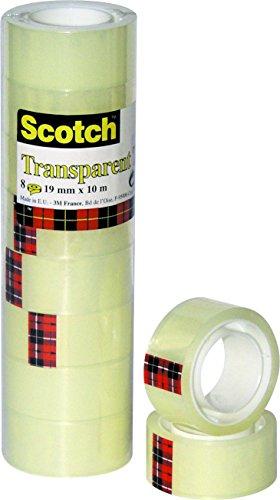 Scotch 5501910 Klebeband 550 (Polypropylenfolie, 19 mm x 10 m) 8 Rollen transparent