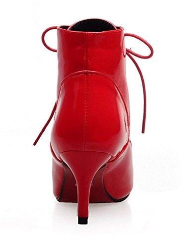 5942ae8bc28a YE Chaussure Botte Chaude Ankle Boots Bottine Lacet Femme Bout Pointu Talon  Haut Aiguille Courte Hiver  Amazon.fr  Chaussures et Sacs