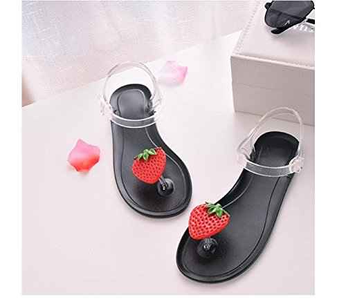 Donyyyy Casual Schuhe, Sandalen, Frauen mit Flachem Boden Frauen Schuhe, Hausschuhe  All black strawberry|Thirty-eight