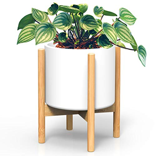 Solid Wood Plant Stand - Ecbanli Mid Century Plant Stand - Best Fit 10 Inch Flower Pot, Solid Bamboo Wood Planter Stand, Indoor Outdoor Potted Plant Holder, Rustic Décor for House, Garden and Patio (Pot NOT Included)