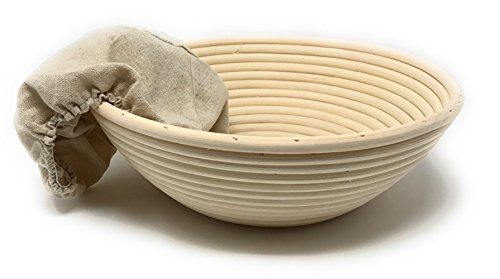 4-Piece Set: Emile Henry Ceramic Bread Cloche Charcoal, Mure Peyrot Boulange Bread Scoring Lame, 8 Inch Round Banneton Proofing Bread Rising Basket with Liner - Bundle by Mixed (Image #6)'