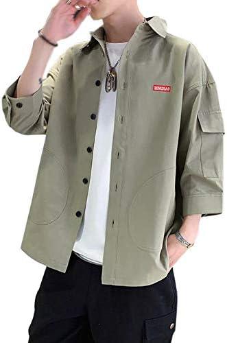 シャツ 七分袖 夏服 メンズ 綿 無地 オックスフォード シャツ メンズ 春 夏 秋 大きいサイズ ファッション カジュアル 服