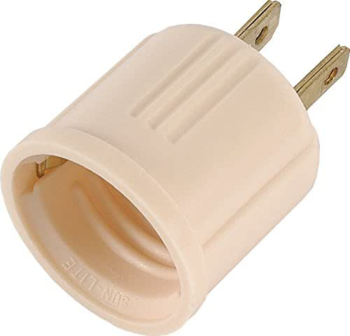 GE Adapter, Converts Outlet to Lamp Socket, Perfect for Workshop, Garage or Utility Room, Polarized Plug, UL Listed, Light Almond, 54173