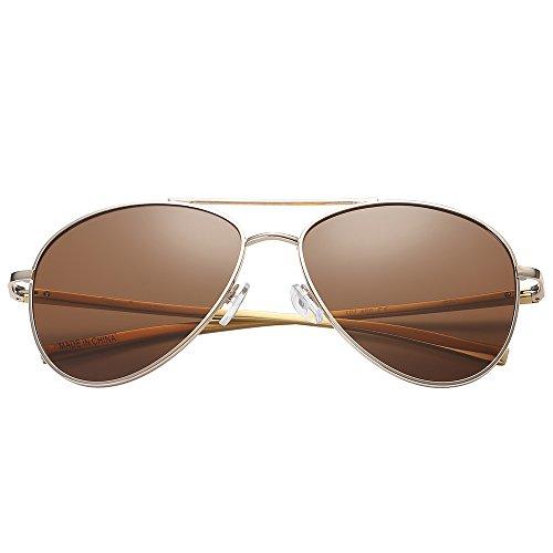 Polarspex Classic Men and Women Polarized Flex Hinge Aluminum Aviator Sunglasses Aluminum Gold | Polarized Brown