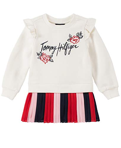 Tommy Hilfiger Baby Girls Dress, Marshmallow/Red/Navy, 24M