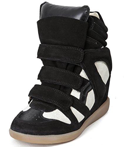 isabel-marant-bekett-womens-velcro-snap-high-top-leather-sneakers-37-black-beige