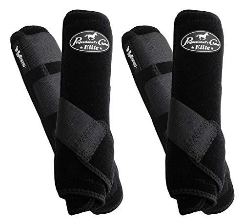 Professionals Choice Equine Sports Medicine Ventech Elite Leg Boot Value Pack, Set of 4 (Large, Black)