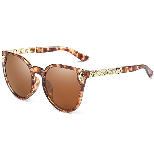 Dollger Womens Cateye Sunglasses Skull Design Big Frame Mirror Fashion - Sunglasses Cat Leopard Eye Print