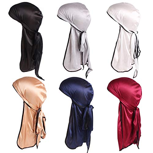 Century Star Satin Silk Head Wrap Durag Long Tail Beanies for Men Women Headwraps Cap 6pcs Wine Red&Navy&Black&Glod&White&Silver -