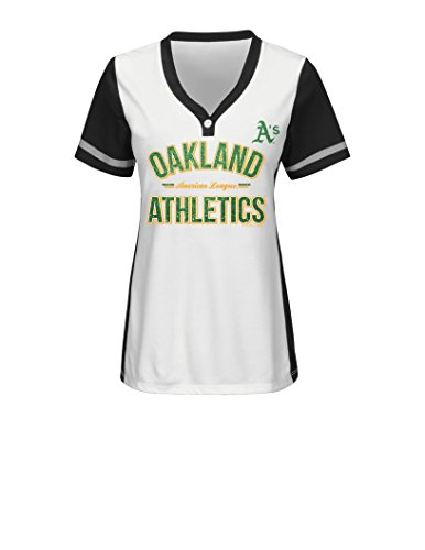 MLB Oakland Athletics Women's Team Name Rugged Competitor Pull Over Color Block Jersey, Large, White/Black