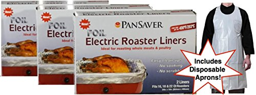 (Pansaver Foil Electric Roaster Oven Liners, 3 Box Bundle (6 Liners). Fits 16,18, 22 Quart Roasters. Includes 3 FREE Superior Individually Wrapped Aprons. Ideal for roasting meats, poultry, turkey.)