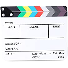 """Neewer Acrylic Plastic 8x7""""/20x16cm Dry Erase Director's Film Clapboard Cut Action Scene Clapper Board Slate with Color Sticks"""