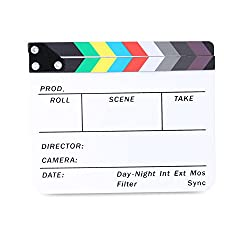 "Neewer Acrylic Plastic 10x8""25x20cm Director's Film Clapboard Cut Action Scene Clapper Board Slate With Color Sticks"