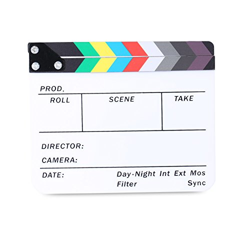 Neewer Acrylic Plastic 10×8″/25x20cm Director's Film Clapboard Cut Action Scene Clapper Board Slate with Color Sticks