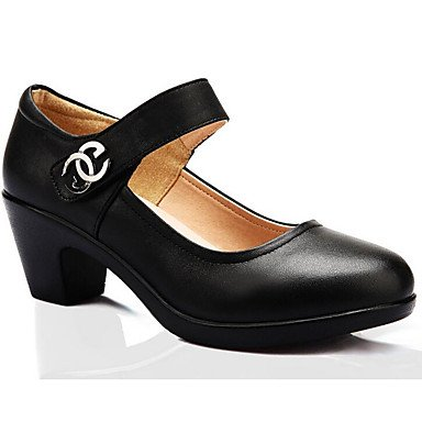 Uk4 amp;Amp; EU36 UK4 Fall Cn37 CN36 Shoes Heel Chunky Career Over 5 5In Heels Women'S 5 Leather US6 amp;Amp; Black Formal Eu37 Black 7 Spring Us6 Office 5 Zormey qA8F1wx