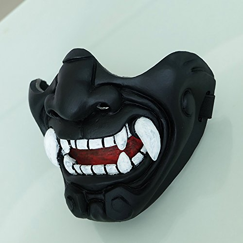 tripple_777 Custom Halloween Costume Cosplay BB Gun Kabuki Samurai Evil Demon Oni Airsoft Mask black MA233