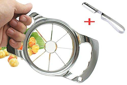 Apple Corer Slicer Stainless Steel 8 Slices for Large Apples Cutter Divider Wedger Plus a Straight Apple Potato Fruit Peeler
