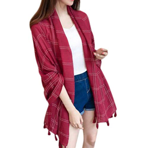 """iFOMO Autumn Winter Plaid Printed Tassel Scarf for Women(Wine Red,70.9""""×35.4"""") from iFOMO"""