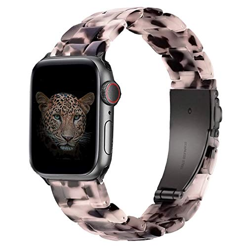 Wearlizer Compatible with Apple Watch Band 38mm 40mm Womens for iWatch SE Lightweight Resin Wristband Bracelet Mens Strap Series 6 5 4 3 2 1-(Deep Rose Gold+Leopard, 38mm/40mm)