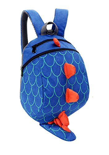 Unisex Child School bag Dinosaur Backpack Lovely Anti-lost Miniature Storage bags (Blue)