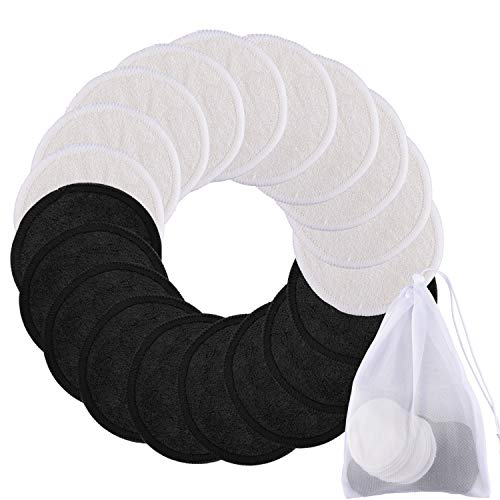 SIQUK 20 Pieces Face Cleansing Pads Reusable Makeup Remover Pads 2 Layers Washable Organic Bamboo Cotton Round Facial Cleansing Cloths with Laundry Bag for Eye Makeup Remove Face Wipe - Black & White