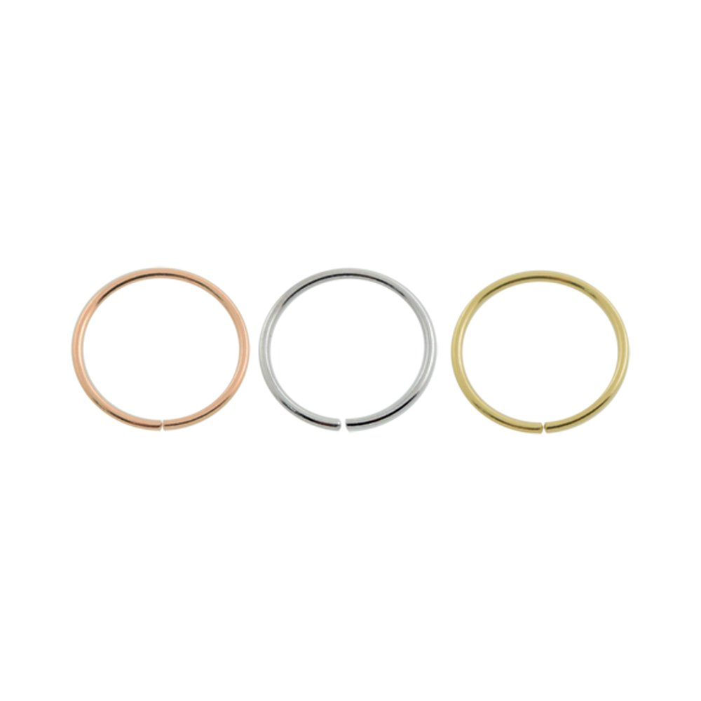 3 Piece Pack of 14ct Solid Yellow Gold,White Gold and Rose Gold 22 Gauge Open Hoop Nose Rings