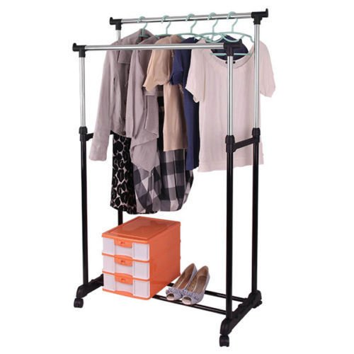 Generic YH-US3-160606-46 8yh3679yh lothes Hanger Adjustable Garment Rack Shelf Portable Rolling Portable Rack Shelf il Adjust Double Rail ling Doub Clothes Hanger by Generic