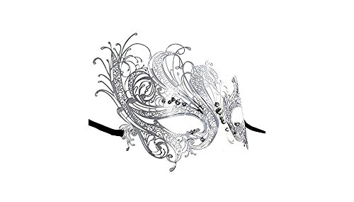 Yacanna Silver Masquerade Masks Laser Cut Metal Venetian Mask with Sparkling Crystals (Swan Silver) by Yacanna