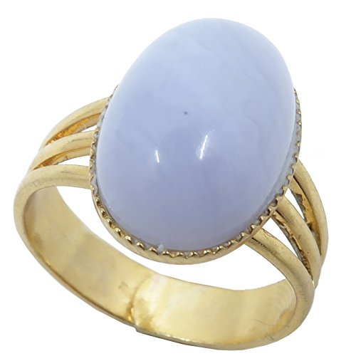 Agate Blue Lace Ring 4-10 Boutique Adjustable Metal Cool Blue Banded Gemstone Oval Crystal B02 (Gold 14x10)