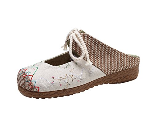 AvaCostume Womens Linen Strappy Round Toe Casual Flats Slipper Shoes Beige