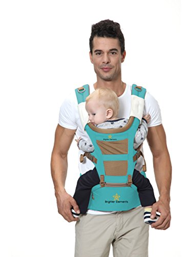 Brighter Elements Ergonomic Baby Carrier with Hip Seat - 5 Positions to Carry Your Newborn, Infant, or Toddler - Safe and Comfortable for Child and Moms, Dads - Great Baby Shower Gift