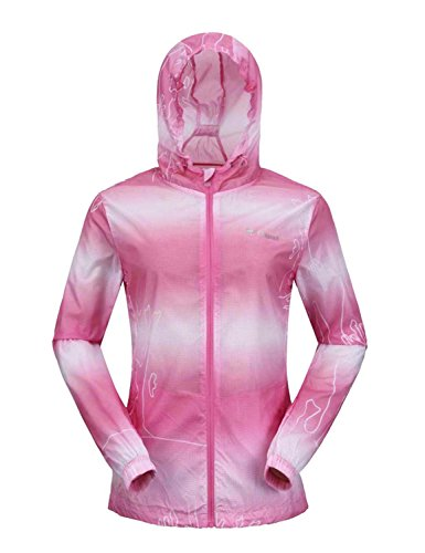 """Only Faith Women Outdoor Ultra Thin Transparent Striated Anti UV WaterprooF Hooded Clothing (M(chest: 37.01""""), rose red)"""