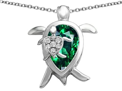Star K Large Mother and Baby Turtle family Pendant Necklace with 12x8mm Pear Shape Simulated (Silver Turtle Necklace)