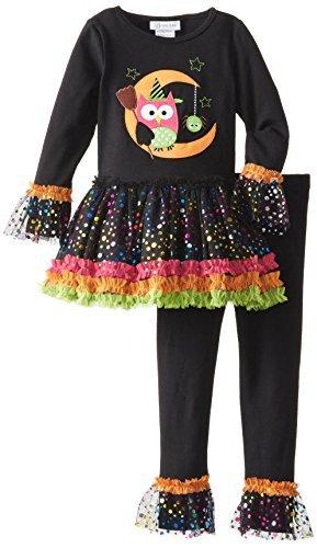 Bonnie Jean Little Girls' Owl Halloween Appliqued Legging Set (6-9 -