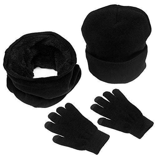 SINGARE Winter Beanie Hat Scarf Set, 3-in-1 Warm Thick Knit Hats Skull Caps Touch Screen Gloves for Men Women Black