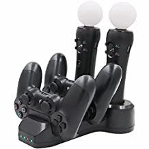TNP PS Move & PS4 DualShock Wireless Controller Charge Charging Station - 4x Quad Port Charging Dock Cradle Stand Storage Accessory for PSVR Sony Playstation 4 Console [Playstation 4]