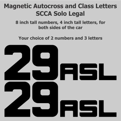 SCCA - NASA - Track Day - 8 inch Autocross Magnetic Number Package with Class Letters, Black, Block (Contact Us Page)