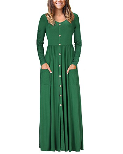 VOTEPRETTY Women's V Neck Long Sleeve Casual Loose Button Maxi Dress with Pockets(Green,S)