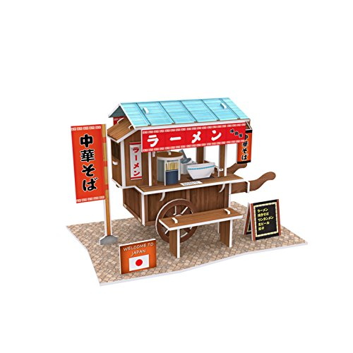 Lelifang 3D stereoscopic new listing world style hut building assembly model children 's toys W3103 Japan - ramen - A Building Hut